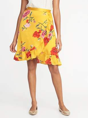 Old Navy Crinkle-Crepe Faux-Wrap Skirt for Women