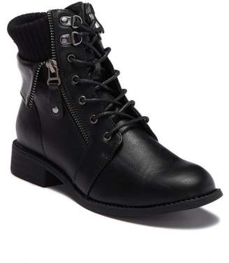 Top Moda Nanou Knit Cuff Combat Boot