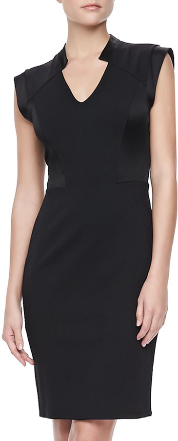 Halston Sleeveless V-Neck Sheath Dress