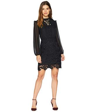 Kensie Smooth Stretch Crepe Dress w/ Lace Detailing KSNK8329