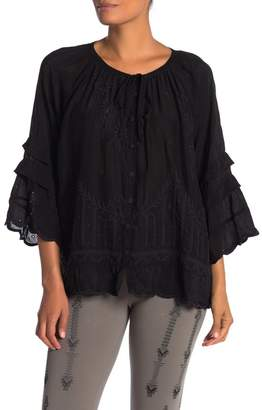 Johnny Was Lucca Tiered Bell Sleeve Blouse