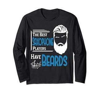 Male Saxophone Player Beards Men T-shirt Orchestra Gift