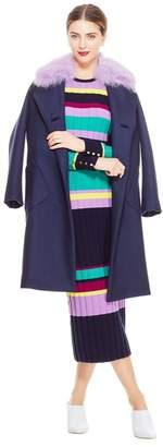 Lela Rose Brushed Wool Coat With Detachable Fur Collar