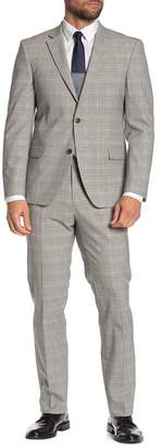 Tommy Hilfiger Plaid White-Grey Slim Fit Wool Blend Suit