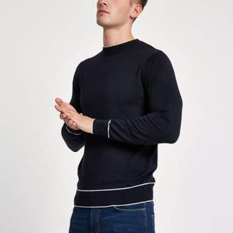 River Island Navy tipped crew neck slim fit sweatshirt