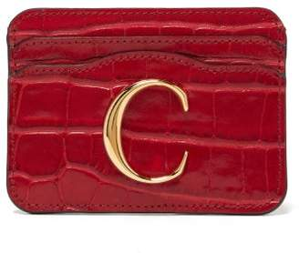 Chloé The C Logo Crocodile Embossed Leather Cardholder - Womens - Red