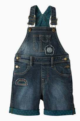 Next Girls Frugi Blue Daisy Light Wash Denim Dungaree