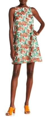 ECI Embroidered Floral Swing Dress