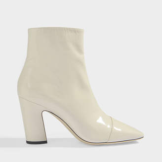 Jimmy Choo Mirren 85 Soft Patent Ankle Boots In Linen Soft Patent Leather