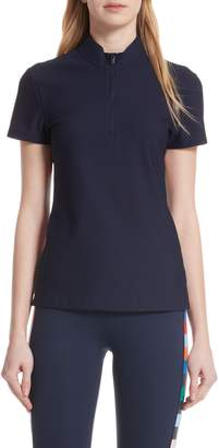 Tory Sport Checker Quarter Zip Mesh Top