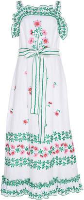 Gül Hürgel Ruffled Floral-Embroidered Linen Midi Dress