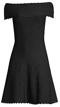 Herve Leger Women's Off-The-Shoulder Scallop Jacquard Dress