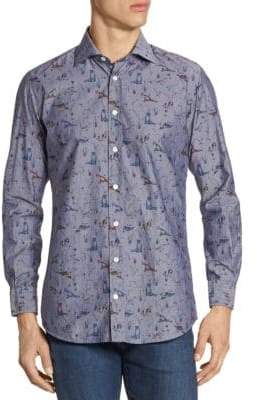 Luciano Barbera Animal-Print Cotton Button-Down Shirt