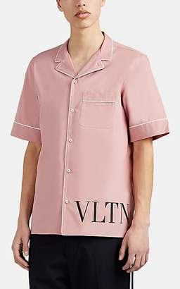 Valentino Men's Cotton Poplin Camp-Collar Shirt - Pink
