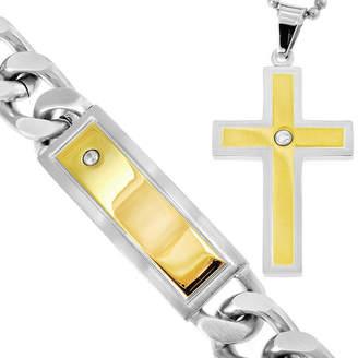 JCPenney FINE JEWELRY Stainless Steel & Cubic Zirconia Cross Pendant Necklace & Bracelet Set