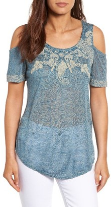 Women's Lucky Brand Embroidered Cold Shoulder Top $59.50 thestylecure.com