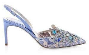 Rene Caovilla Bejeweled Lace Slingback Heels