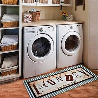 "Ustide Vintage Style Waterproof Floor Runners Non Skid Kitchen Floor Mat Laundry Room Washhouse Mat Bathroom Rugs Non-Slip Rubber Area Rug 2x4 (20""x48"""