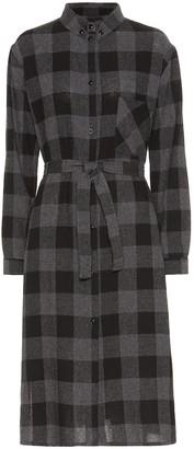 Woolrich Checked wool-blend midi dress