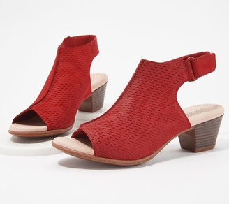 Clarks Nubuck Leather Perforated Heeled Sandals- Valarie James