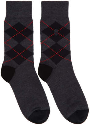 Alexander McQueen Grey and Red Argyle Socks