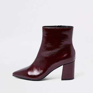 River Island Dark red pointed toe block heel boots
