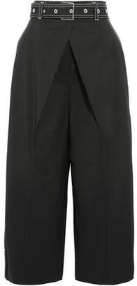 Proenza Schouler Cropped Wool-Blend Twill Wide-Leg Pants