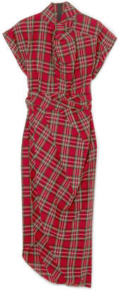 Tartan Cotton Midi Dress - Red A.W.A.K.E. KSXicLpX