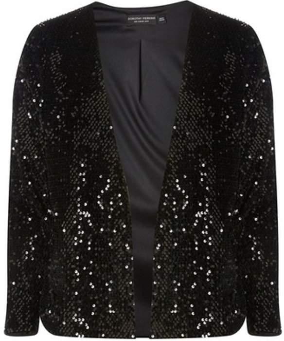 Womens Black Sequin Embellished Jacket
