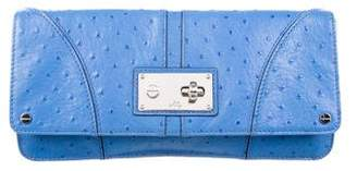 Milly Mina Ostrich-Effect Leather Clutch
