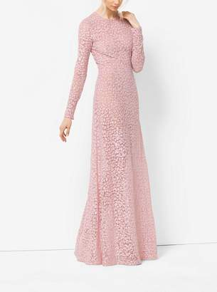 Michael Kors Floral-Embroidered Tulle Gown