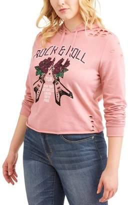 Generic Women's Plus Long Sleeve 'Rock & Roll' Graphic Hoodie