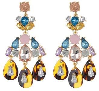 Cara Accessories Rhinestone & Tortoise Chandelier Earrings