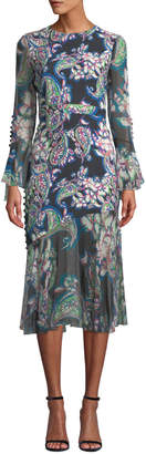 Prabal Gurung Floral-Print Sheer-Sleeve Midi Dress