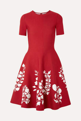 Oscar de la Renta Intarsia Stretch-knit Dress - Claret