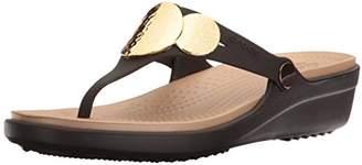 Crocs Women's Sanrah Embellished Wedge Flip Sandal