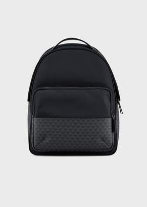 Emporio Armani Nylon Backpack With Monogram Inserts