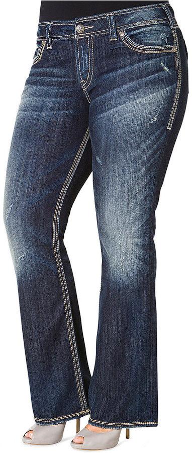 Silver Jeans Plus Size Suki Surplus Bootcut Jeans, Medium Distressed Wash