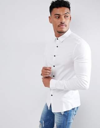 Asos Design Skinny Viscose Shirt In White