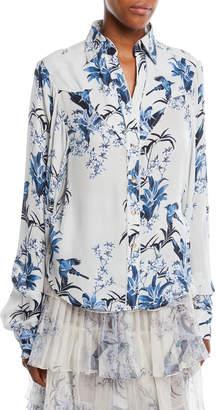 Azalea Johanna Ortiz Blue Button-Front Long-Sleeve Blue-Jay Garden-Print Silk Shirt