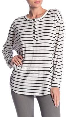 Lush Striped Thermal Knit Tunic Top