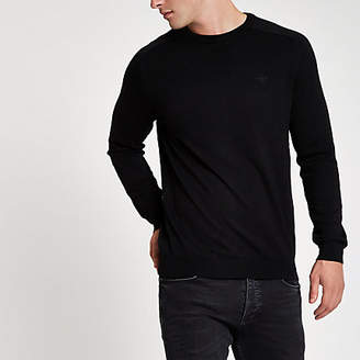 River Island Black slim fit crew neck sweater
