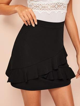 Shein Ruffle Overlap Front Solid Skirt