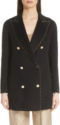 Emporio Armani Gold Sequin Melton Wool Jacket