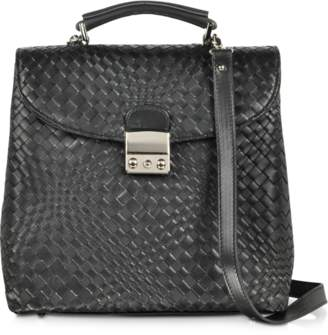 Forzieri Black Woven Leather Vertical Messenger
