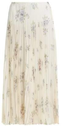 Joseph Abbot Pleated Floral Print Silk Skirt - Womens - Cream Multi