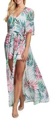 Kensie Dresses Palm Tree-Print Hi-Lo Maxi Dress