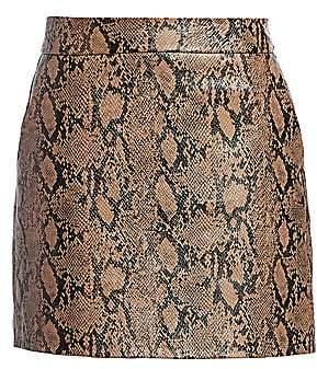 Frame Women's Python Embossed Leather Mini Skirt