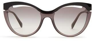 Miu Miu Cat Eye Acetate Sunglasses - Womens - Black Grey