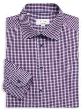 Eton Contemporary-Fit Plaid Cotton Dress Shirt